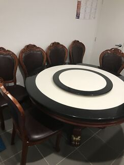Round marble dining table & 6 leather-wooden chairs with coffee table