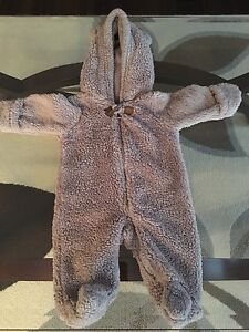 Newborn Grey Hooded Sherpa Bunting-Excellent Condition