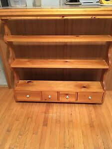 Curio Shelf Unit with Plate Slots and Drawers