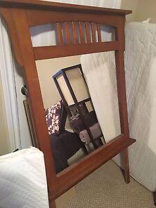 Solid oak bureau mirror