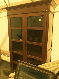 Glass antique teak display cabinet