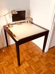 Solid wood, glass top coffee table (expandable)