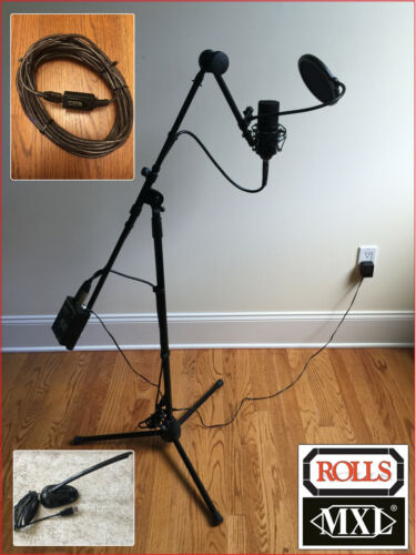 USB Microphone MXL770 + ROLLS preamp on custom stand, 32ft active USB extension