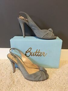 """SIZE 10 suede """"something blue"""" peep toes"""
