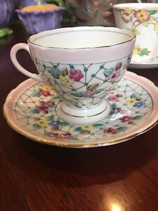 3 vintage English bone China cups and saucers