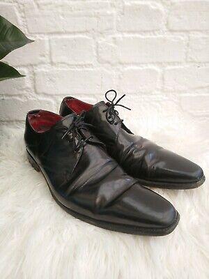 Men's Jeffery West Black Leather Shoes Size UK 9 EU 43 Lace Up Smart Gloss Shiny