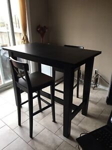 MOVING SALE! Beautiful Solid Pine High Table + 2 Matching Chairs