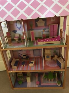 Doll house and wooden furniture