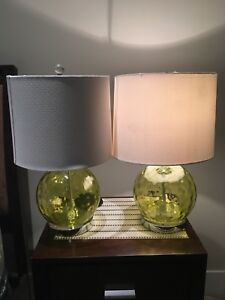 2 green glass table lamps.