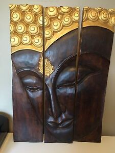 Solid wood three panel Buddha