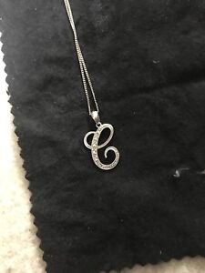 "Authentic White Gold and Diamonds ""C"" Necklace"