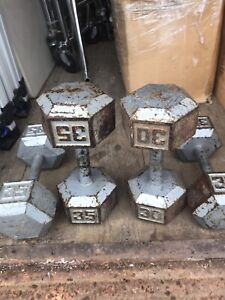 Used Barbell Cast Iron Hex Dumbbell 35LBS