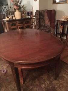 Solid wood table with glass and 5 chairs