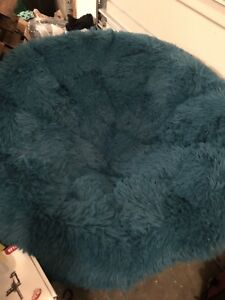 Dark frame Papasan chair with Teal cushion from Pier 1 Imports