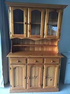 Wooden Hutch Buffet  with glass doors Helensvale Gold Coast North Preview