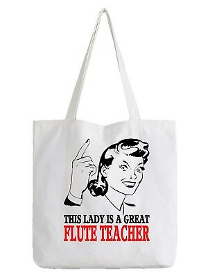 Flöte Lehrer Damen Tragetasche Shopper Beste Geschenk Music Flutist Flötist