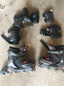 Size adjustable Inline skates with accessories