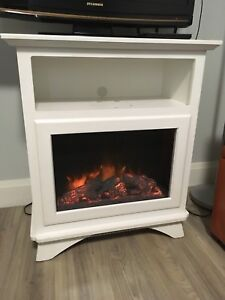 BEAUTIFUL FAUX FIRE PLACE/SHELF/TV STAND