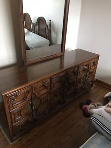 Antique Dresser with 9 Drawers and Mirror