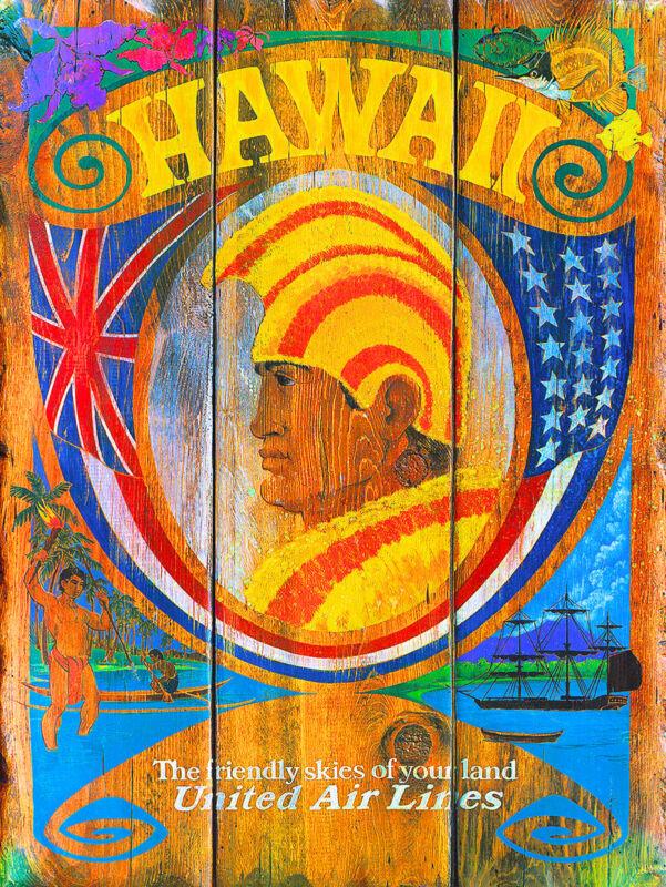Hawaii Hawaiian King Oahu United States America Travel Advertisement  Poster