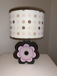 Pink  and Brown Flower Table Lamp