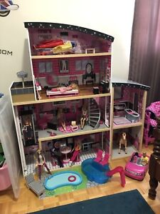 Barbie Doll House with Dolls, Horse and Car