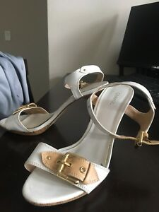 White and Beige 3 Inch Sandals