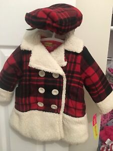 Brand new with tags girls 12 month old plaid jacket and hat