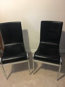 Structube Chrome and Leather Dining Chairs | 2 | $50 each