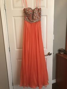 Coral strapless dress size 2 $80 OBO