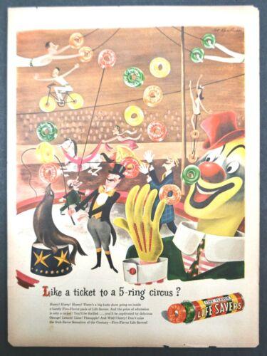 1946 Life Savers Advertisement Circus Clown Ring Master Candy Vintage Print AD