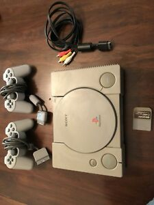 PS1 PlayStation 1, with 2 controllers