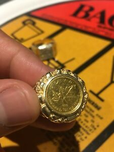 Pure gold coin in 14k mount ring