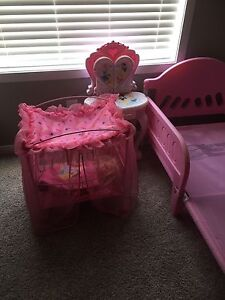 Princess bed, dresser and crib