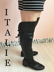 Black italian leather boots