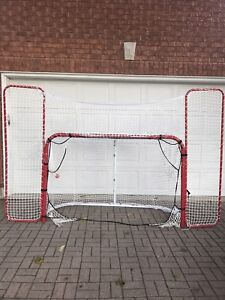 Hockey folding pro goal net with backstop and targets