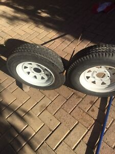 "Two 12"" Trailer Tires"