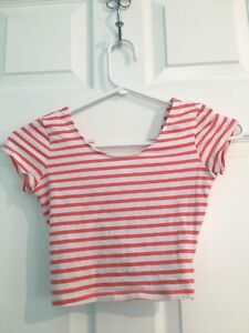 Orange/red and white stripped crop top from Garage