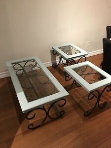 Coffee Table Set - Wrought Iron & Glass, Patina