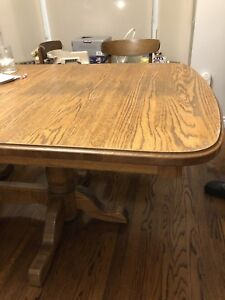 Solid oak harvest table and chairs