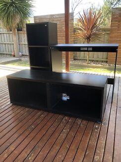 Desk, shelves & tv/games cabinet