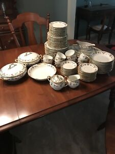 Limoges Vignaud Gold Gilt China Dinnerware Set Lot - 93 pieces