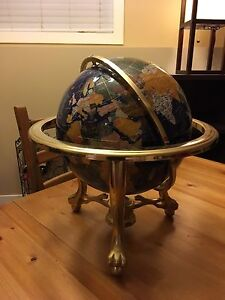 Beautiful polished stone inlay globe