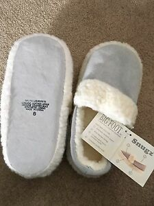 Sherpa lined leather slippers