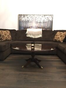 Vintage solid wood coffee table with glass top