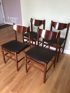 Set of 4 - Unique Mid Century Modern Wood Chairs