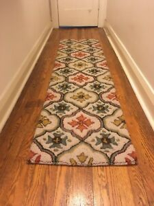 Hall runner rug with colourful floral motif