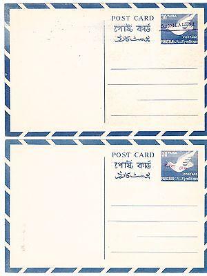 Bangladesh Postal Card:2 Pakistan cards (HG#F5)overprinted for use in Bangladesh
