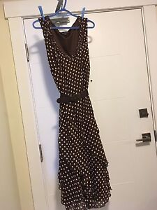 Brown Dress with Ivory polka dots