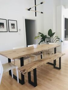 Maple live edge dining table with bench